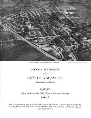 1959 City of Vacaville Water Revenue Bonds