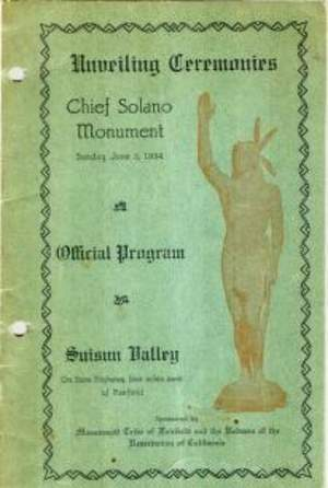 Unveiling Ceremonies Chief Solano Monument Program June 3, 1934